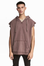 Sleeveless hooded top - Burgundy washed out - Men | H&M CN 1