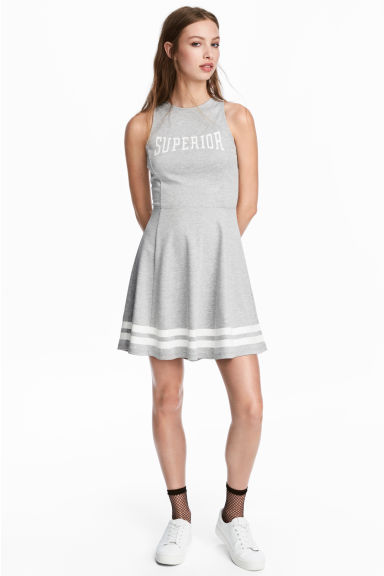 Sleeveless Jersey Dress - Grey marl/Text - Ladies | H&M CA 1
