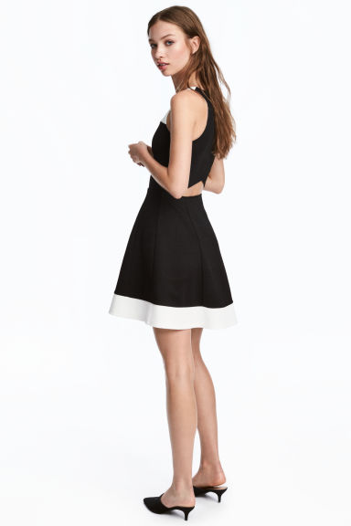 Sleeveless jersey dress - Black/White - Ladies | H&M
