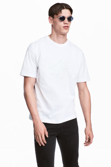 Embroidered T-shirt - White - Men | H&M