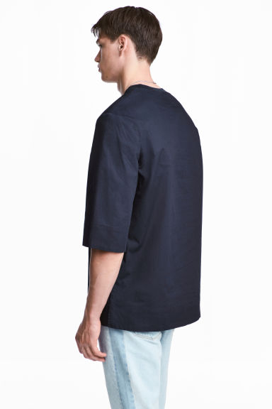 Wide cotton T-shirt - Dark blue - Men | H&M 1