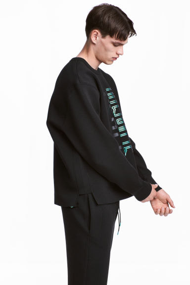 Scuba sweatshirt - Black/Text - Men | H&M 1