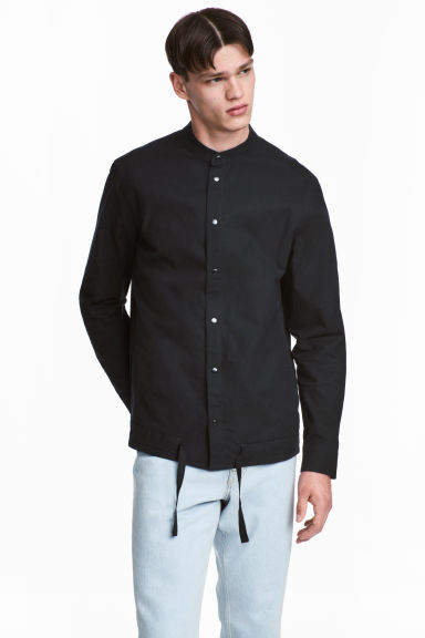 Cotton Shirt with Drawstring - Black - Men | H&M CA 1