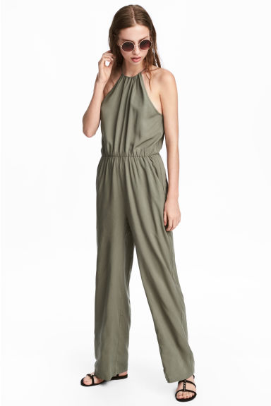 Sleeveless jumpsuit - Khaki green - Ladies | H&M GB 1