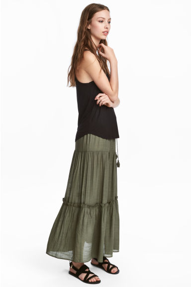 Long tiered skirt - Dark khaki green - Ladies | H&M IE