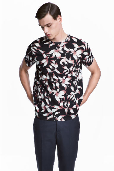 T-shirt - Dark blue/Patterned -  | H&M 1