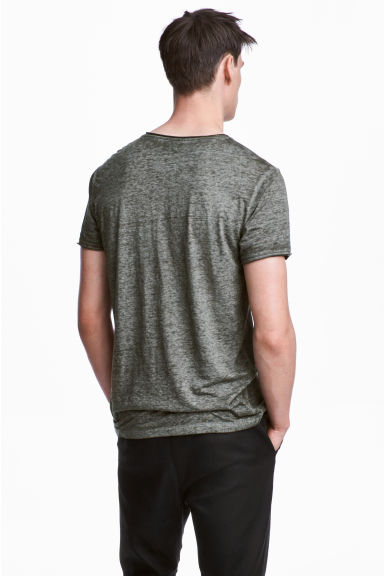 T-shirt with raw edges - Khaki marl - Men | H&M 1