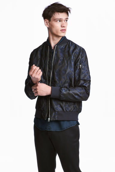 Jacquard-weave bomber jacket - Dark blue/Patterned - Men | H&M CN 1
