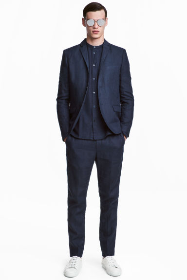 Pantaloni in lino Slim fit - Blu scuro -  | H&M CH