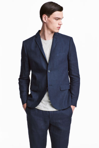 Linen jacket Slim fit - Dark blue - Men | H&M CA 1