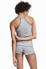 Pyjama top and shorts - Grey marl - Ladies | H&M 1
