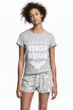 Pyjamas with top and shorts - Grey Wonder Woman - Ladies | H&M 1