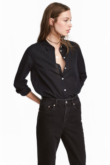 Cotton shirt - Black - Ladies | H&M CN 1