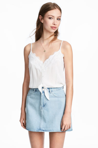 Cropped tie-hem top - White -  | H&M GB
