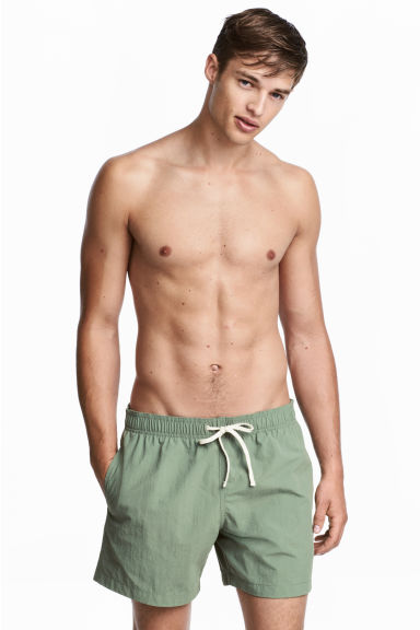 Short swim shorts - Khaki green - Men | H&M CN 1