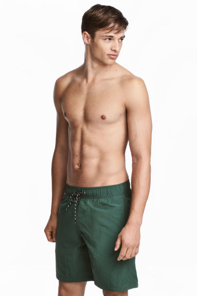 Knee-length swim shorts - Dark green - Men | H&M GB