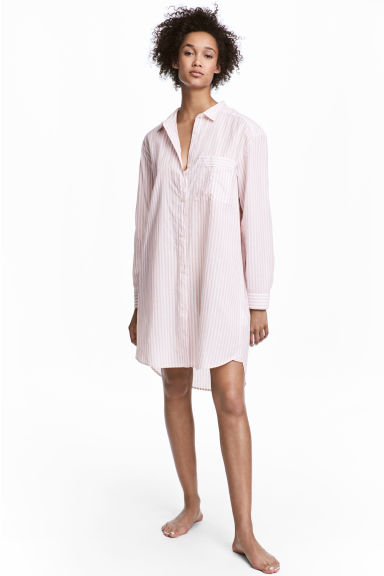 Cotton nightshirt - Light pink/Striped - Ladies | H&M 1