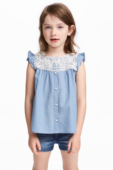 Cotton blouse with lace - Blue/Chambray -  | H&M CA