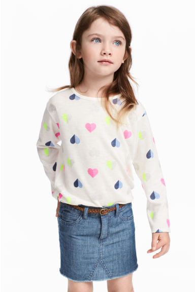 Printed jumper - White/Heart - Kids | H&M CA