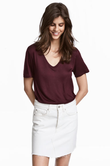 V-neck jersey top - Plum - Ladies | H&M 1