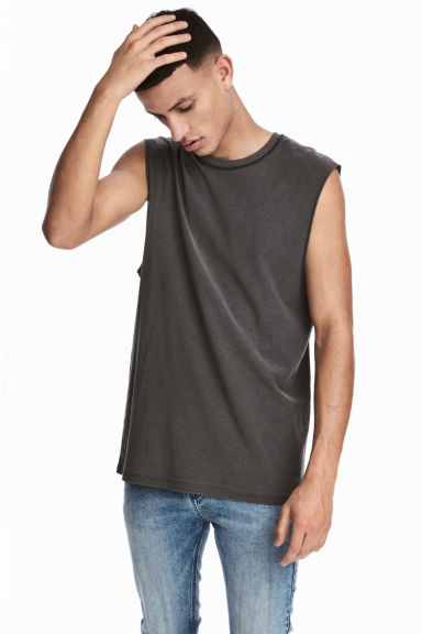 Slub jersey vest top - Dark grey - Men | H&M 1