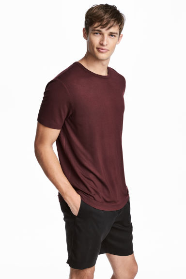 Viscose jersey T-shirt - Burgundy - Men | H&M CN