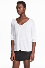 Linen V-neck top - White - Ladies | H&M CN 1