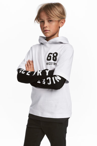 Jersey hooded top - White - Kids | H&M CN 1
