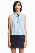 Lace-collar blouse - Light blue - Ladies | H&M 1