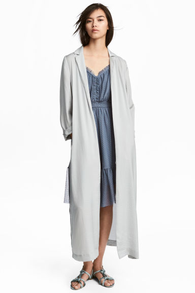 Long satin coat - Light grey -  | H&M