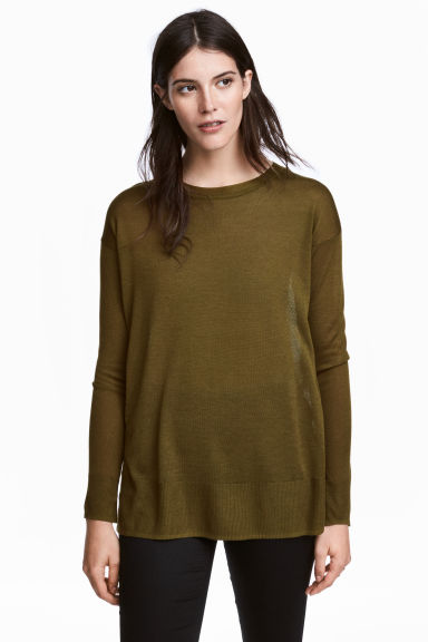 Fine-knit jumper - Khaki green - Ladies | H&M 1