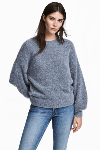 Knitted mohair-blend jumper - Blue marl - Ladies | H&M