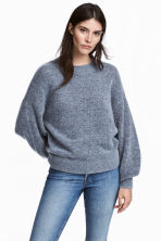 Knitted mohair-blend jumper - Blue marl - Ladies | H&M CA 1