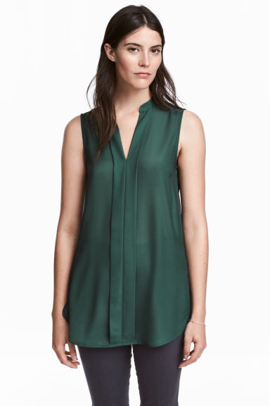 V-neck blouse - Dark green - Ladies | H&M IE 1