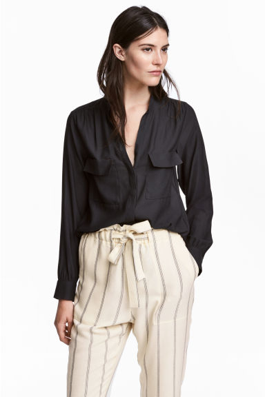 Crêpe blouse - Black - Ladies | H&M 1