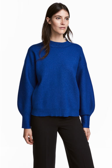 Fine-knit jumper - Dark blue/Glitter - Ladies | H&M