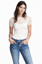 Top with lace - White - Ladies | H&M CA 1
