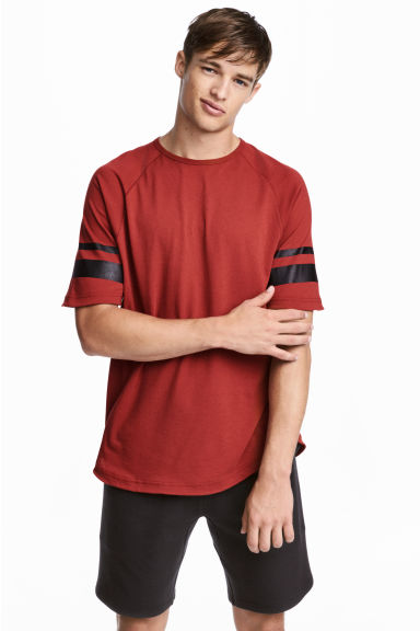 Short-sleeved sports top - Rust red - Men | H&M 1