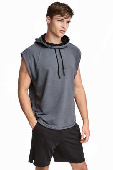 Sleeveless hooded top - Dark grey marl - Men | H&M 1
