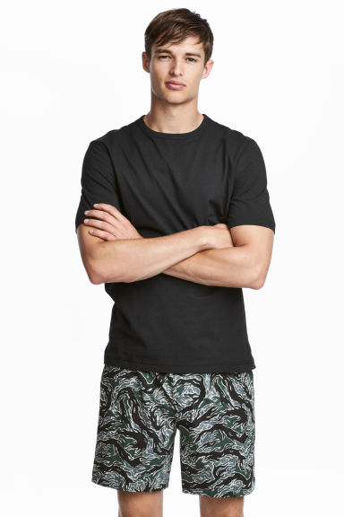 Pajama T-shirt and Shorts - Black melange - Men | H&M CA 1