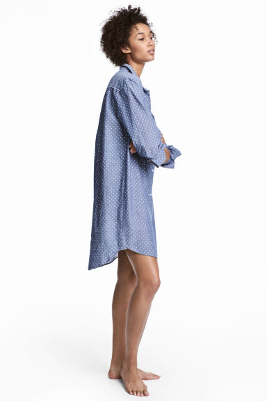 Cotton nightshirt - Blue/Spotted - Ladies | H&M 1