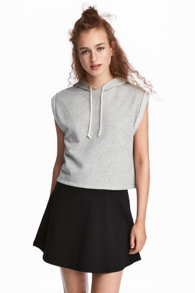 Sleeveless hooded top - Grey marl - Ladies | H&M 1