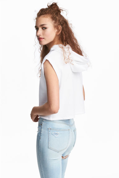 Sleeveless hooded top - White - Ladies | H&M CN 1