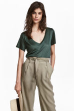 V-neck T-shirt - Dark green - Ladies | H&M 1