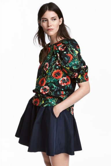 Cotton Blouse - Black/floral - Ladies | H&M CA 1