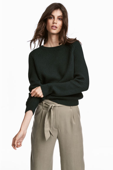 Ribbed jumper - Dark green - Ladies | H&M 1