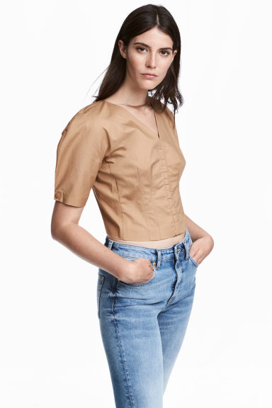 Cotton blouse - Beige - Ladies | H&M CN 1
