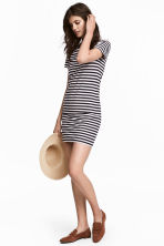 Jersey dress - Dark blue/Striped - Ladies | H&M CN 1