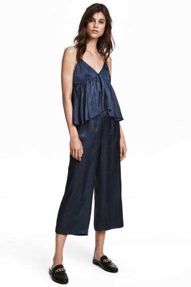 Jumpsuit with a flounce - Dark blue - Ladies | H&M