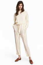 Striped trousers - Natural white/Striped - Ladies | H&M 1